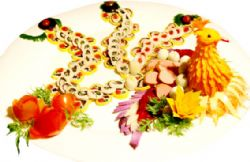 The peacock-shaped dish is made from bulbs, fruits, eggs and meat.